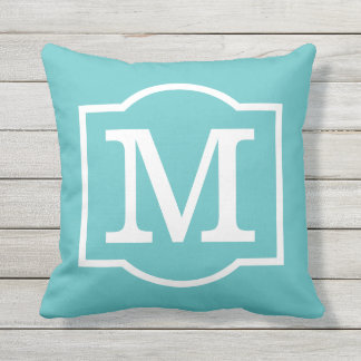 Monogrammed | Turquoise Blue and White Outdoor Cushion