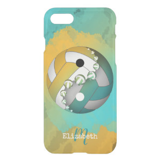 monogrammed turquoise girls' yin yang volleyball iPhone 8/7 case