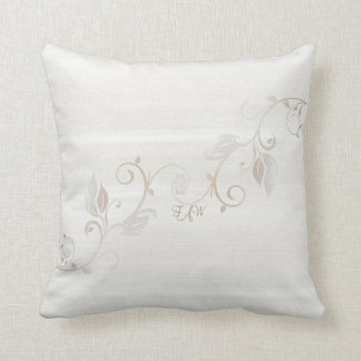 Monogrammed Vines and Wood in Cream Throw Cushion