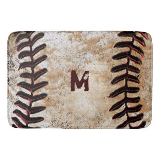 Monogrammed Vintage Baseball Bath Rug for Man Cave Bath Mats