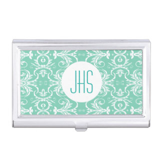 Monogrammed vintage floral green PERSONALIZE Case For Business Cards