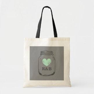Monogrammed vintage grey mason jar heart tote bag