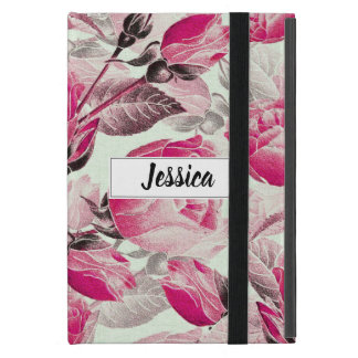 Monogrammed Vintage Pink Floral Roses Pattern Case For iPad Mini