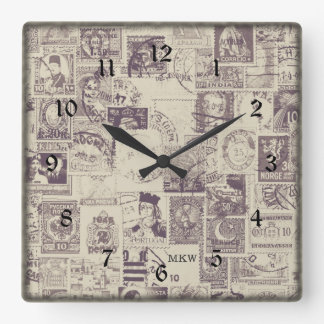 Monogrammed Vintage Postage Wall Clock