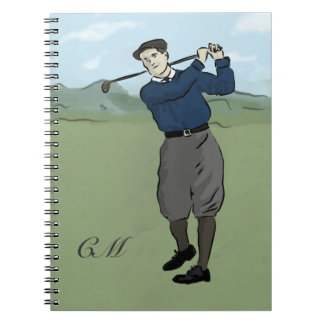 Monogrammed Vintage Style golf art Notebooks