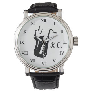 Monogrammed watch gift for saxophone player