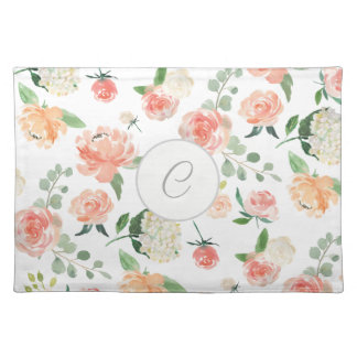 Monogrammed Watercolor Floral Pattern Placemat