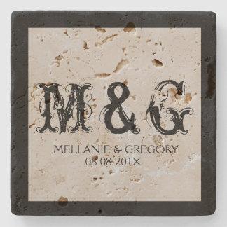 Monogrammed Wedding Text Design Stone Coaster