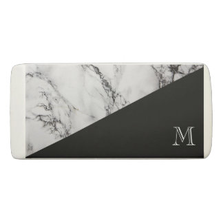 Monogrammed White And Black Marble Texture Eraser