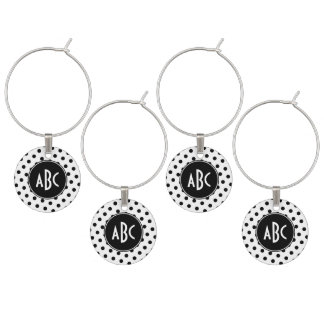 Monogrammed White and Black Polka Dots Wine Glass Charms