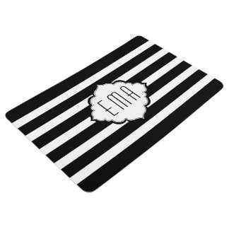 Monogrammed White And Black Stripes Floor Mat