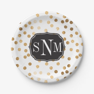 Monogrammed White and Gold Glitter Dots 7 Inch Paper Plate