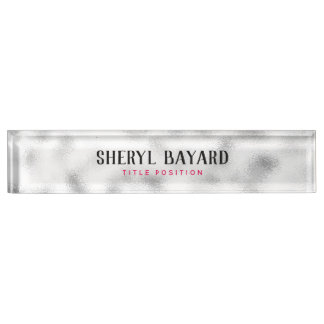 Monogrammed White And Gray Ground Glass Nameplate