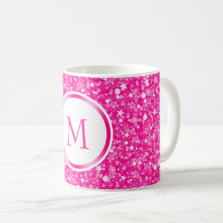 Monogrammed White And Pink Glitter Coffee Mug