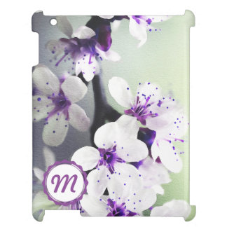 Monogrammed White and Purple Blooms iPad Case
