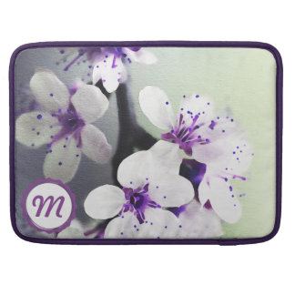 Monogrammed White and Purple Blooms MacBook Sleeve