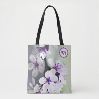 Monogrammed White and Purple Blooms Tote Bag
