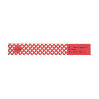 Monogrammed White and Red Polka Dot Wedding Wraparound Return Address Label