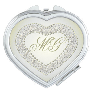 Monogrammed White Gold Heart-Compact Mirror Mirrors For Makeup