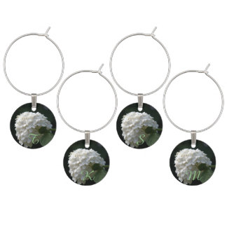 Monogrammed White Lime Hydrangea Wine Charms