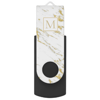 Monogrammed White Marble And Spotted Gold Glitter USB Flash Drive
