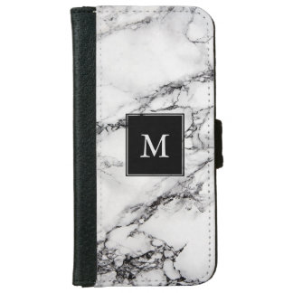 Monogrammed White Marble Stone And Black Crack iPhone 6 Wallet Case