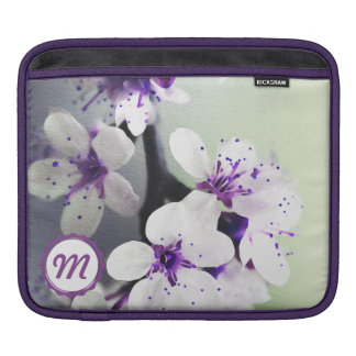 Monogrammed White & Purple Blooms Rickshaw Sleeve