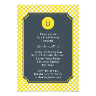 Monogrammed White, Yellow and Charcoal Polka Dot Card