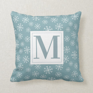 Monogrammed Winter Snowflakes Cushion
