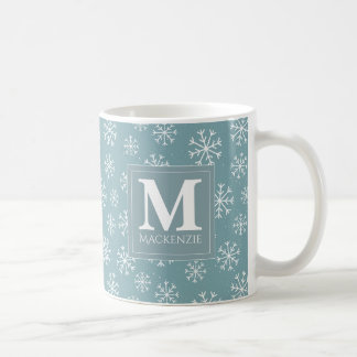 Monogrammed Winter Snowflakes Holiday Coffee Mug
