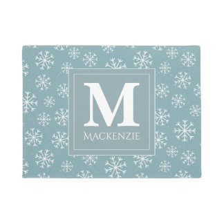 Monogrammed Winter Snowflakes Holiday Doormat