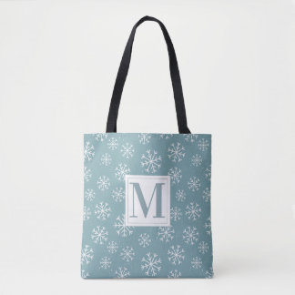 Monogrammed Winter Snowflakes Tote Bag