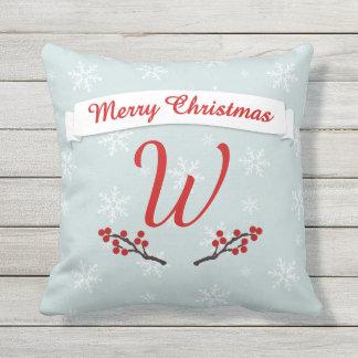 Monogrammed Winterberry Season's Greetings Outdoor Cushion