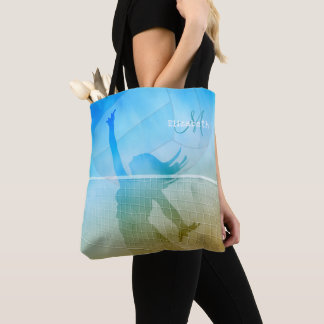 monogrammed women's beach volleyball tote bag