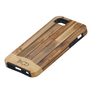 Monogrammed Wood Parchment (Faux) Rustic Country Case For The iPhone 5