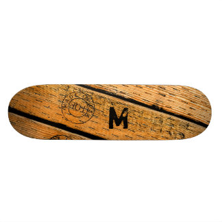 "Monogrammed Wood Planks Stamped w ""Made in USA"" Skate Boards"