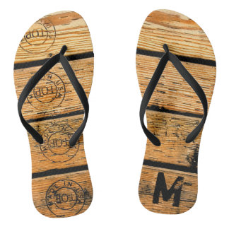 "Monogrammed Wood Planks Stamped w ""Made in USA"" Thongs"