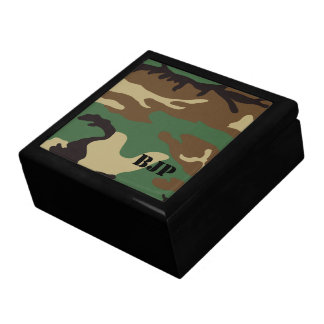 Monogrammed Woodland Camo ~ Jewelry Large Square Gift Box