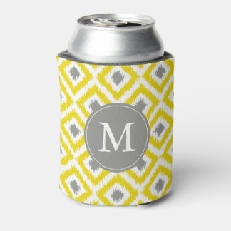 Monogrammed Yellow and Gray Ikat Diamonds Pattern Can Cooler