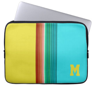 Monogrammed Yellow Blue Multicolor Striped Pattern Laptop Computer Sleeve