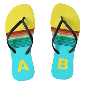 Monogrammed Yellow Blue Multicolor Striped Pattern Thongs