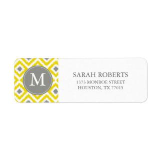 Monogrammed Yellow Gray Diamonds Ikat Pattern Return Address Label