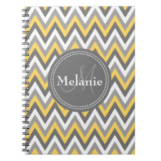 Monogrammed Yellow & Grey Chevron Pattern Notebook