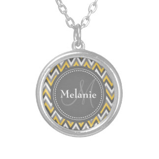 Monogrammed Yellow & Grey Chevron Pattern Round Pendant Necklace