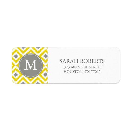 Monogrammed Yellow Grey Diamonds Ikat Pattern Return Address Label
