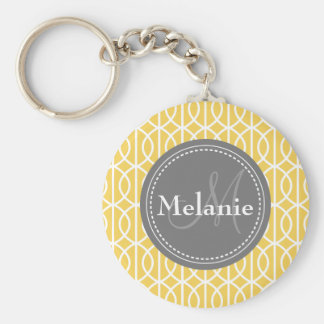 Monogrammed Yellow Grey Moroccan Ogee Pattern Key Ring