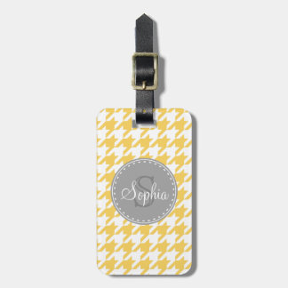 Monogrammed Yellow White Houndstooth Pattern Luggage Tag