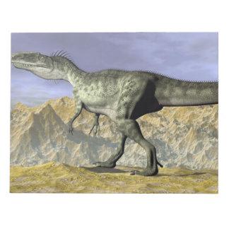 Monolophosaurus dinosaur in the desert - 3D render Notepad