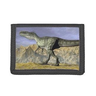 Monolophosaurus dinosaur in the desert - 3D render Trifold Wallets