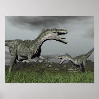 Monolophosaurus roaring - 3D render Poster